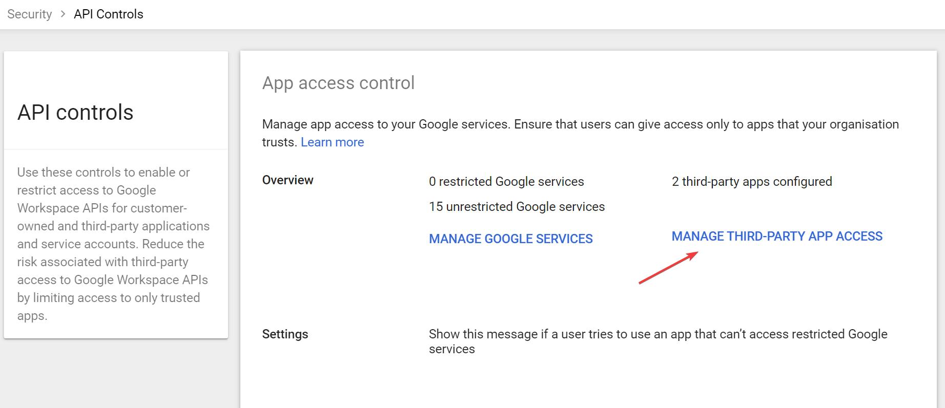 App access control in Google Admin Console