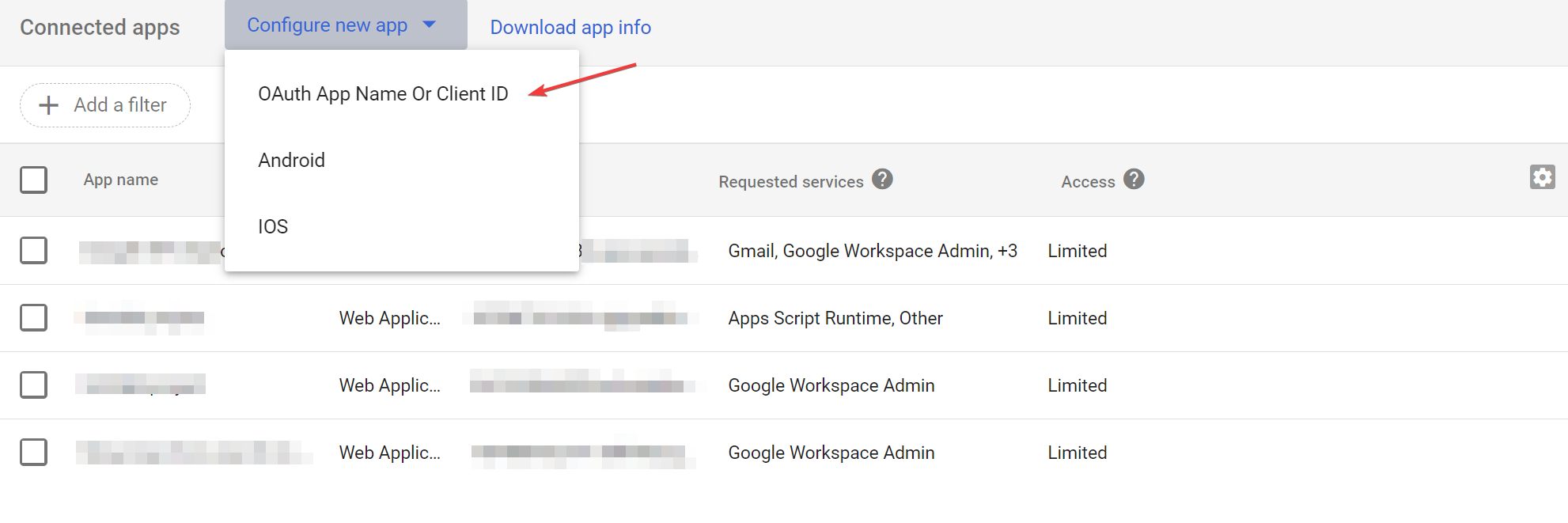 Configure new app in Google Admin Console srcset=